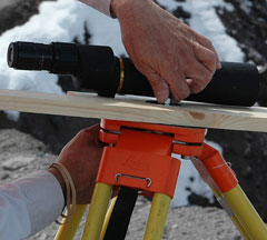 spotting scope mounted on a tripod