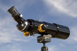 close-up, rear side view of a spotting scope